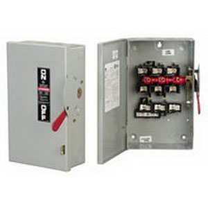 GE Distribution TGN3322R Non-Fusible General Duty Disconnect Safety Switch; 60 Amp, 240 Volt AC/250 Volt DC, 3-Pole, NEMA 3R