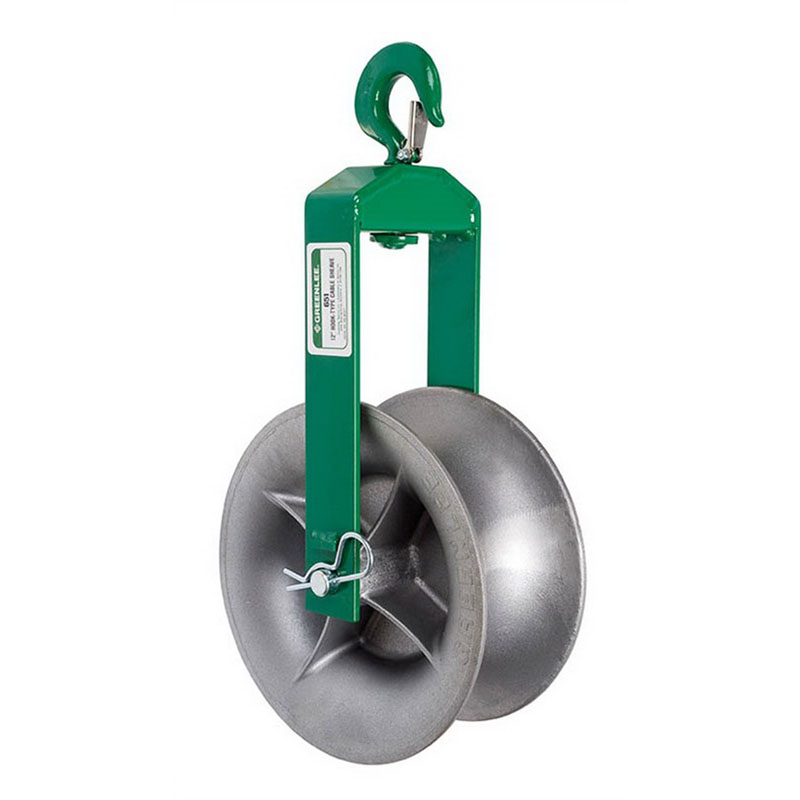 Greenlee 651 Cable Hook Sheave; 12 Inch Dia x 5 Inch Width, 4000 lb Breaking Strength, Green