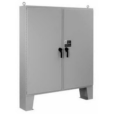 Hoffman Pentair 275TP A62H4810LP3PT-MOD 2 Door 3-Point Latch Style Enclosure 48 Inch Width x 10 Inch Depth x 62 Inch Height  12 Gauge Steel  Floor Mount  Polyester Powder-Coated ANSI 61 Gray