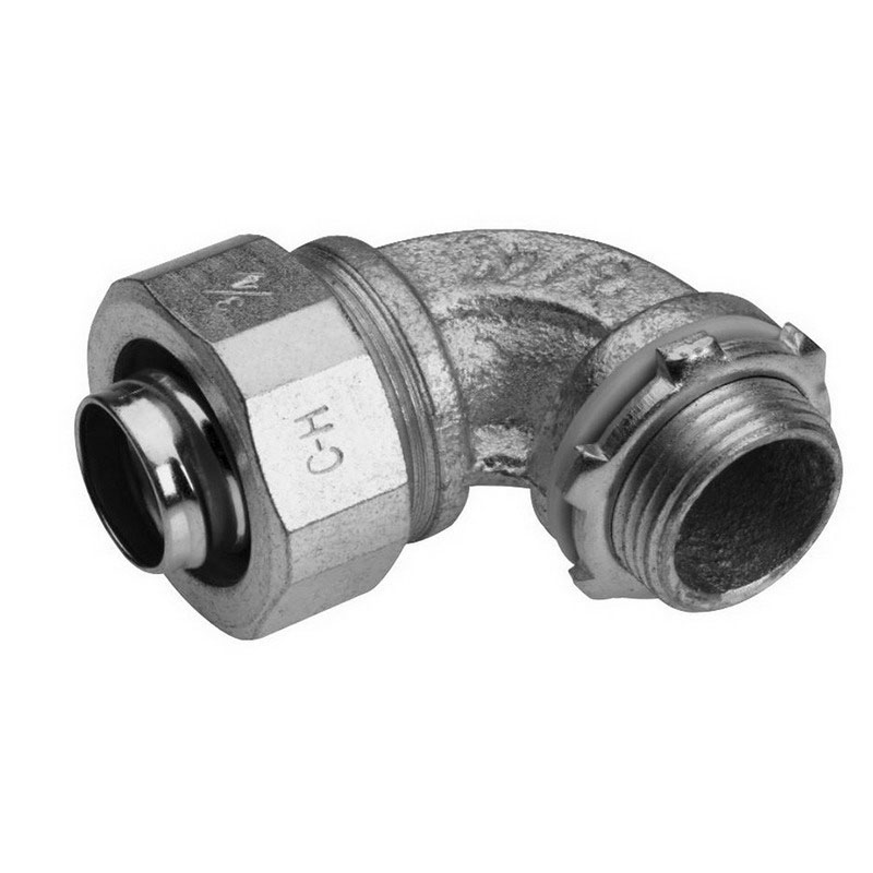 Midwest LT15090G B960 Liquidator™ Non-Insulated 90 Degree Liquidtight Angle Connector With Grounding Lug; 1-1/2 Inch, Malleable Iron, Threaded