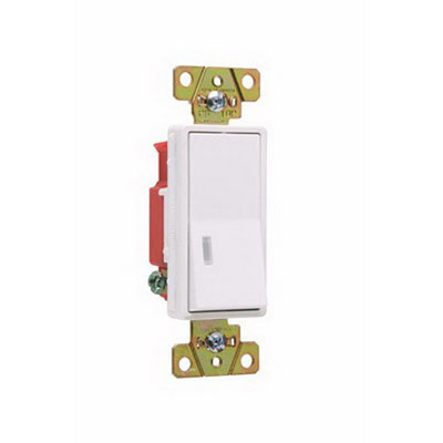 Pass & Seymour 2625-W Single Pole Decorator Switch 1 Pole  120 Volt AC  20 Amp  White