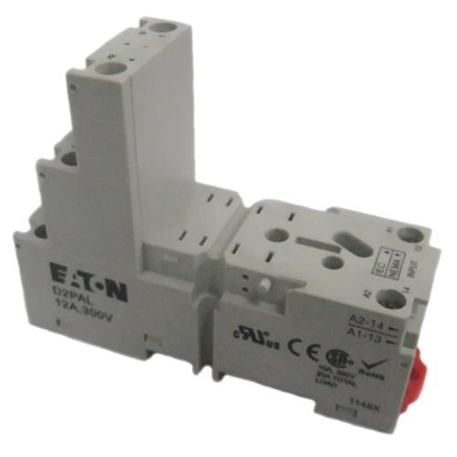 Eaton / Cutler Hammer D2PAL Relay Socket; 300 Volt, 12 Amp, 8 Pole, DIN Rail/Panel Mount