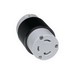 Woodhead / Molex 29T47 Safeway® 3 Wire 2 Pole Connector with Locking Blade; 30 Amp, 125 Volt, Black/White