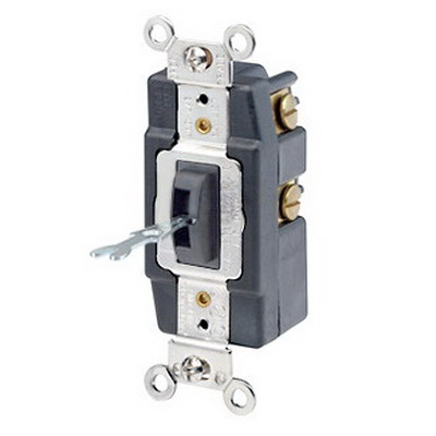 Leviton 1281-L AC Quiet Switch; 1 Pole, SPDT, 120/277 Volt AC, 15 Amp, Black