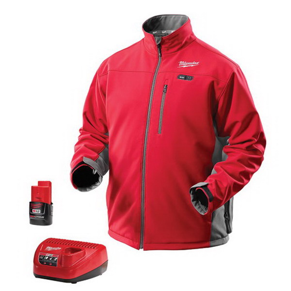 Milwaukee Tool  2391-L M12™ Cordless Red Heated Jacket Kit; Large, Water/Wind Resistant Polyester, Red