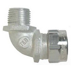 Thomas & Betts 4980AL 90 Degree Aluminum Ranger Liquidtight Cord Connector; 1 Inch, Aluminum