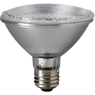 Eiko 60PAR30/H/FL-120V Halogen Lamp 60 Watt  3000K  Medium E26 Base  1500 Hour Life  Silver