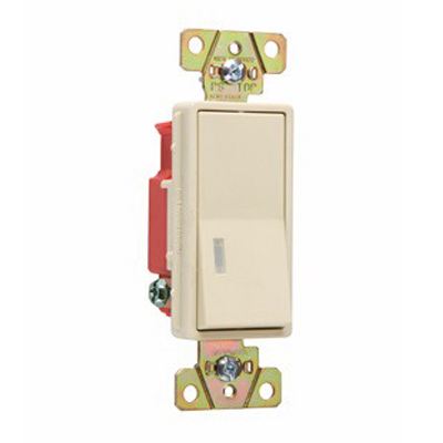 Pass & Seymour 2625-I Single Pole Decorator Switch 1 Pole  120 Volt AC  20 Amp  Ivory