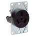 Cooper Wiring 7985N Straight Blade Single Receptacle; 125/250 Volt, 50 Amp, 3 Pole, 3 Wire, Flush Mount, Black
