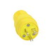 Cooper Wiring 14W33 ArrowHart™ 2 Pole 3 Pole Specification Grade Weatherproof Watertight Straight Blade Plug; 20 Amp, 125 Volt AC, Yellow
