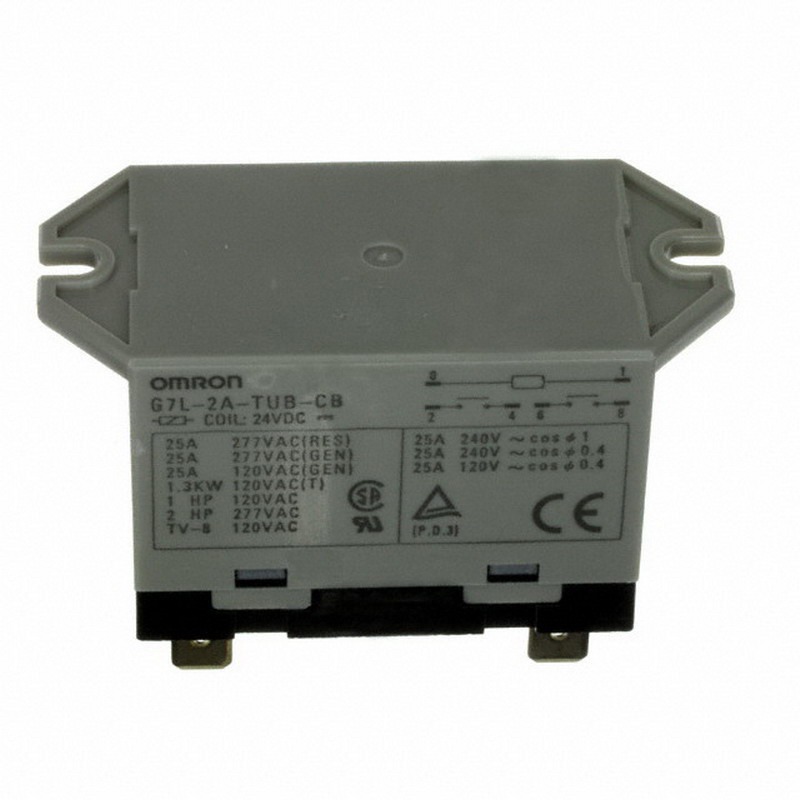 Omron G7L-2A-TUB-CB-DC24 Upper Bracket Class B insulation Power Relay; 24 Volt DC, DPST/NO, 2 Pole