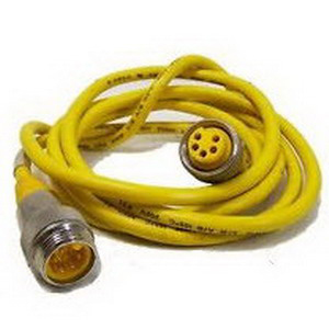Turck RKM-36-6M minifast® Heavy Duty flexlife® STOW 3-Wire Cordset; 600 Volt, 16 AWG, 6 m, Female Straight x Wire Lead, Yellow