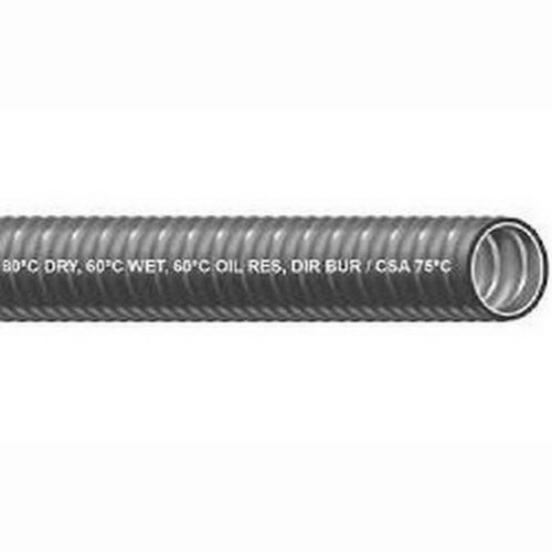 Southwire 55093205-1-1/2-SOU-L/T-MTL-FLX-RCL Titan™ Liquidtight Flexible Metal Conduit; 1-1/2 Inch x 50 ft Length, Steel Core PVC Jacket, Black