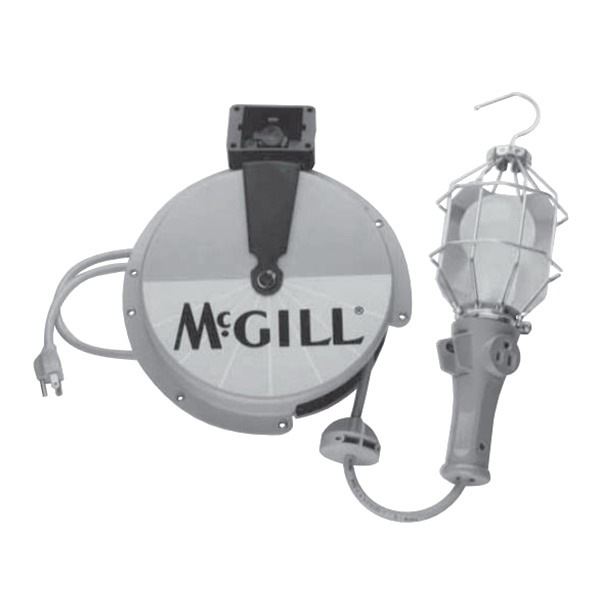 McGill 8815 SJOW-A Card Reel With Switch In Hand Lamp; 125 Volt, 6 Amp, 16 AWG, 25 ft