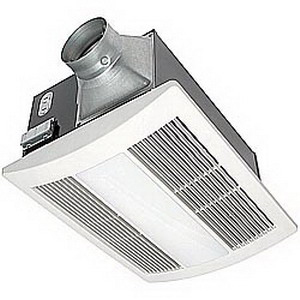 Panasonic FV-11VHL2 WhisperWarm™ Fan With Heater and Night Light; 120 Volt, 110 cfm At 0.1 Inch/89 cfm At 0.25 Inch/90 cfm Blower Fan, 0.7 At 0.1 Inch Sones, 4 Inch Duct, Stainless Steel Heating Element, Ceiling Mount