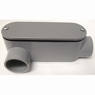 Cantex 5133654 Round Corner Type LR Conduit Body; 1-1/2 Inch Hub, PVC, Gray
