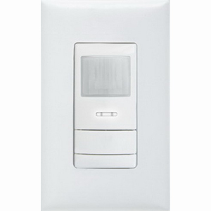 Lithonia Lighting / Acuity WSX-PDT-WH Dual Technology Passive Infrared Wall Switch Sensor; 20 ft 625 Sq ft At Small Motion/36 ft 2025 Sq ft At Large Motion, Self-Grounding Strap/Wall/1-Gang Switch Box Mount, White