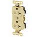 Hubbell / Bryant Electric 5352BLK Heavy Duty Straight Blade Duplex Receptacle; 125 Volt, 20 Amp, NEMA 5-20R, Black