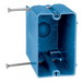 Union RN-23-FS 1-Gang Fast Set Outlet Box; 22.5 Cubic-Inch, PVC, Blue, Nails Recessed Angled Mount