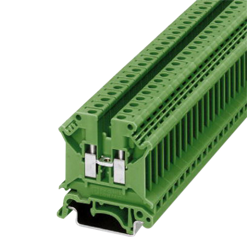 Phoenix 3003965 UK 5 N GN Single Level Feed-Through Terminal Block; 800 Volt, 32 Amp, 2 Contacts, Screw Connection, Green