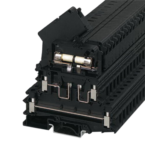 Phoenix 3026654 UKK 5-HESILED G / 5 x 20 Double Level Fuse Modular Terminal Block with LED; 400 Volt, 6.3 Amp, 4 Contacts, Screw Connection, Black