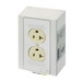 Phoenix 5600525 Double Socket EM-DUO Power Outlet Receptacle; DIN Rail Mount, 120 Volt AC, 20 Amp, NEMA 5-15, Ivory/White