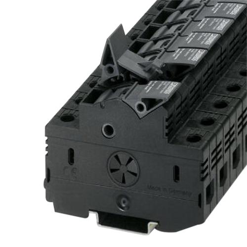 Phoenix 3048629 UK 10,3-CC HESILED N 600 2POL Single Level Fuse Modular Terminal Block; 690 Volt, 32 Amp, 2 Contacts, Screw Connection, Black