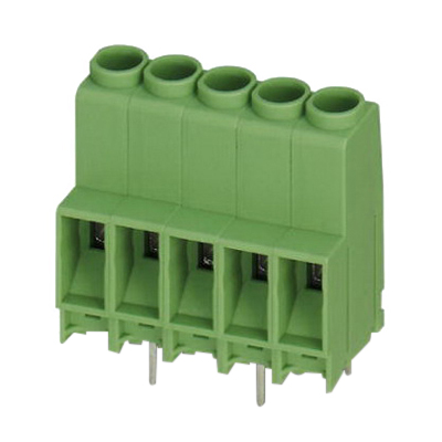 Phoenix 1724640 MKDS 5 HV Printed-Circuit Board Terminal Block; 1000 Volt, 41 Amp, 6.35 mm Space, 10 Positions, Screw Connection, Green