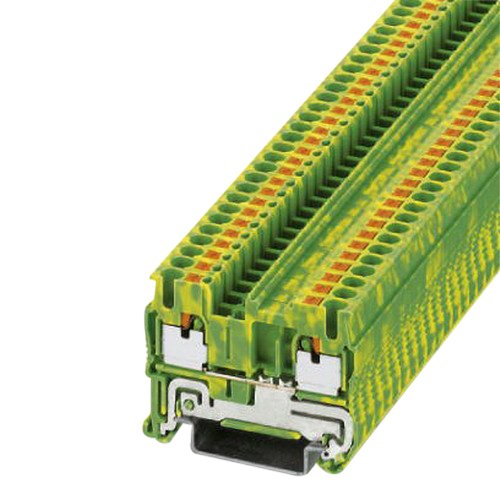 Phoenix Contact Phoenix 3209536 PT 2,5-PE Single Level Ground Modular Terminal Block; 2 Contacts, Push-In Connection, Green/Yellow