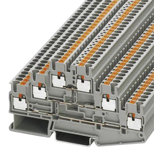 Phoenix Contact Phoenix 3210499 PT 2,5-3L Triple Level Terminal Block; 500 Volt, 20 Amp, 6 Contacts, Push-In Connection, Gray