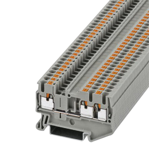Phoenix 3209549 PT 2,5-TWIN Single Level Feed-Through Terminal Block; 800 Volt, 24 Amp, 3 Contacts, Push-In Connection, Gray