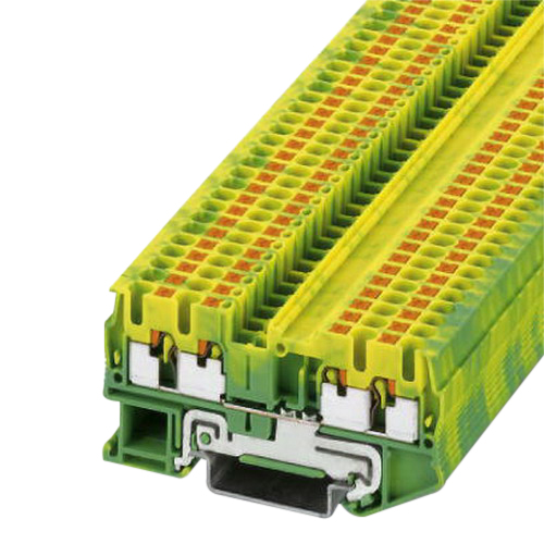 Phoenix Contact Phoenix 3209594 PT 2,5-QUATTRO-PE Single Level Ground Modular Terminal Block; 4 Contacts, Push-In Connection, Green/Yellow