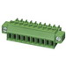 Phoenix 1847204 MC 1,5/10-STF Printed-Circuit Board Connector; 160 Volt, 8 Amp, 3.5 mm Space, 10 Positions, Screw Connection, Green