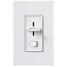 Lutron S-600P-WH Skylark® Single Pole Preset Slide Dimmer with Rocker On/Off Switch; 120 Volt AC, 600 Watt, Incandescent/Halogen, White