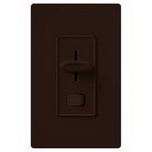 Lutron S-600P-BR Skylark Single Pole Preset Slide Dimmer with Rocker On/Off Switch 120 Volt AC 600 Watt Incandescent/Halogen Brown
