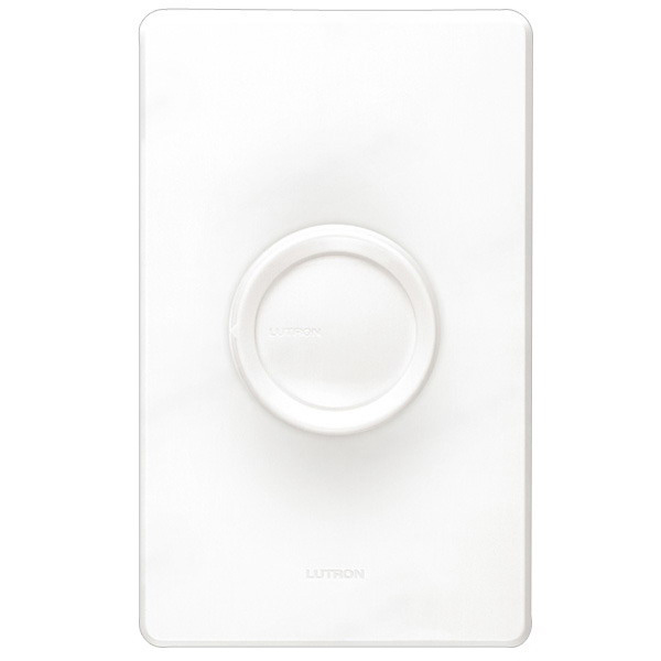 Lutron D-603P-WH Single Pole 3-Way Rotary Dimmer with Push On/Off Switch; 120 Volt AC, 600 Watt, Incandescent/Halogen, White