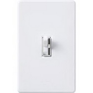 Lutron AY-600P-WH Ariadni® Single Pole Preset Slide Dimmer with Toggle Switch; 120 Volt AC, 600 Watt, Incandescent/Halogen, White