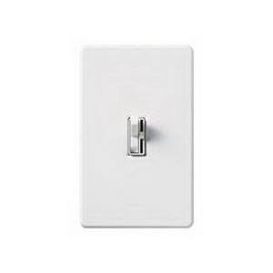 Lutron AY-603P-WH Ariadni® Single Pole 3-Way Preset Slide Dimmer with Toggle Switch; 120 Volt AC, 600 Watt, Incandescent/Halogen, White