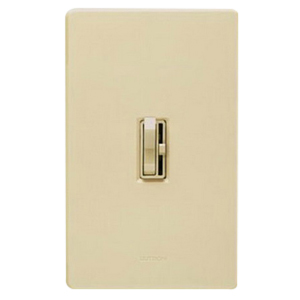 Lutron AY-10P-IV Ariadni® Single Pole Preset Slide Dimmer with Toggle Switch; 120 Volt AC, 1000 Watt, Incandescent/Halogen, Ivory
