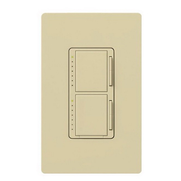 Lutron MA-L3L3-IV Maestro&reg Single Pole Dual Digital Tap On/Off Fade Dimmer Switch 120 Volt AC  2 300 Watt  Incandescent/Halogen  Ivory