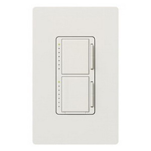 Lutron MA-L3L3-WH Maestro&reg Single Pole Dual Digital Tap On/Off Fade Dimmer Switch 120 Volt AC  2 300 Watt  Incandescent/Halogen  White