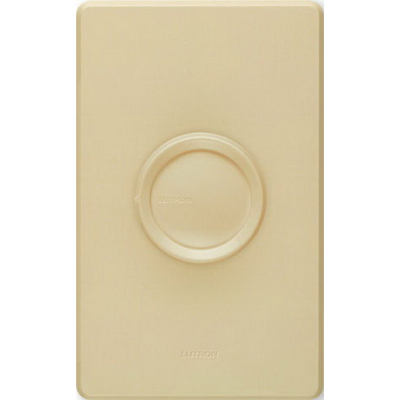Lutron D-600P-IV Single Pole Rotary Dimmer with Push On/Off Switch 120 Volt AC  600 Watt  Incandescent/Halogen  Ivory