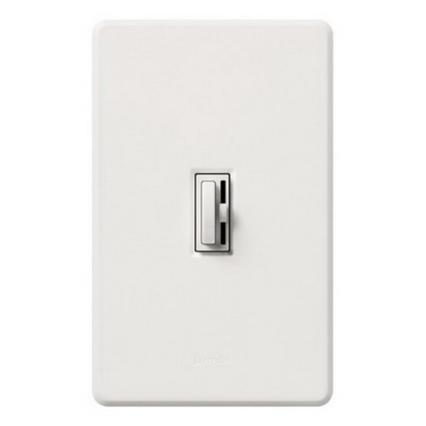 Lutron AY-103P-WH Ariadni® Single Pole 3-Way Preset Slide Dimmer with Toggle Switch; 120 Volt AC, 1000 Watt, Incandescent/Halogen, White