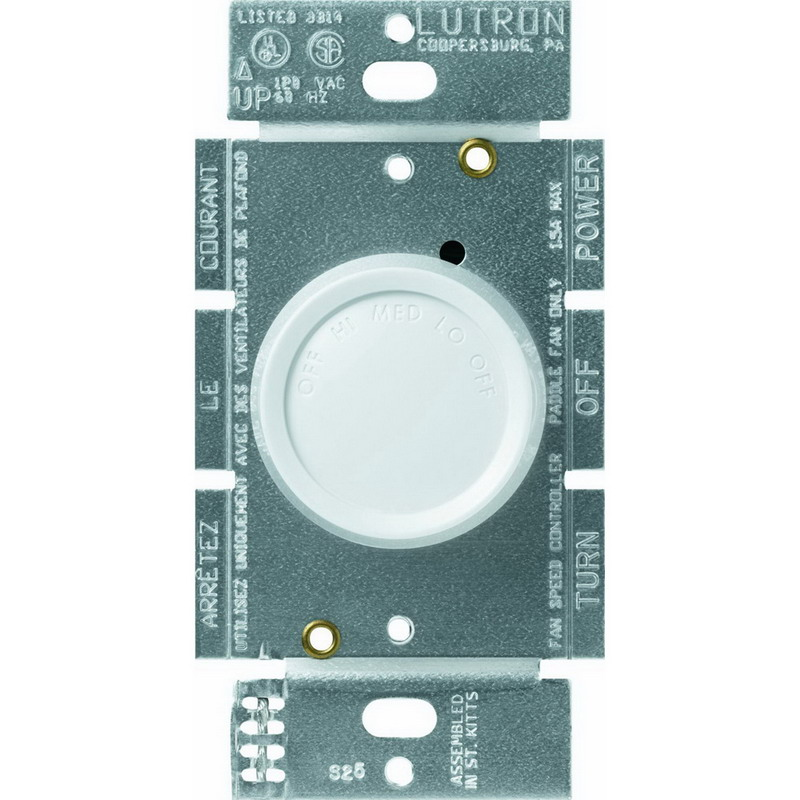 Lutron FSQ-2F-WH Quiet Three Speed Fan Control; 120 Volt AC, 1.5 Amp, Single Pole, Rotary On/Off, White