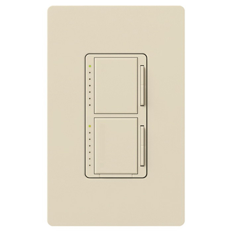 Lutron MA-L3L3-LA Maestro® Single Pole Dual Digital Tap On/Off Fade Dimmer Switch; 120 Volt AC, (2) 300 Watt, Incandescent/Halogen, Light Almond