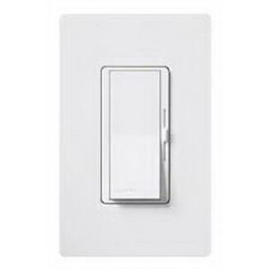Lutron DV-603P-WH Diva® Single Pole 3-Way Preset Slide Dimmer with Paddle On/Off Switch; 120 Volt AC, 600 Watt, Incandescent/Halogen, White
