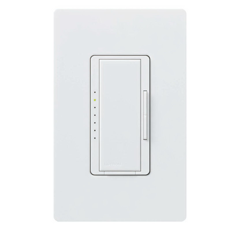 Lutron MA-600-WH Maestro® Single Pole Digital Tap On/Off Fade Dimmer Switch; 120 Volt AC, 600 Watt, Incandescent/Halogen, White