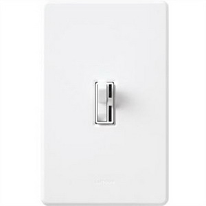 Lutron AY-10PH-WH Ariadni® Single Pole Preset Slide Dimmer with Toggle Switch; 120 Volt AC, 1000 Watt, Incandescent/Halogen, White