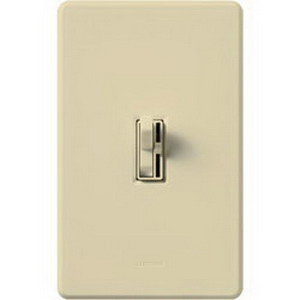 Lutron AY-10PH-IV Ariadni® Single Pole Preset Slide Dimmer with Toggle Switch; 120 Volt AC, 1000 Watt, Incandescent/Halogen, Ivory