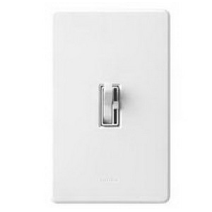 Lutron AY-603PH-WH Ariadni® Single Pole 3-Way Preset Slide Dimmer with Toggle Switch; 120 Volt AC, 600 Watt, Incandescent/Halogen, White